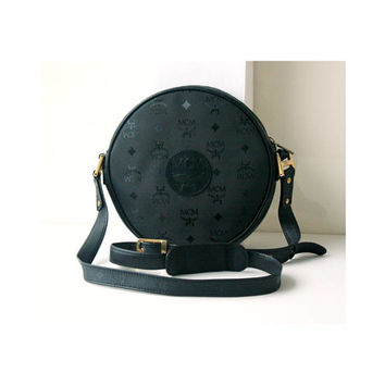 MCM bag Visetos Black Tambourine Round shoulder cross-body handbag vintage brown Authentic purse rare