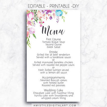 Wedding Menu, Printable Menu, Floral, DIY Menu Template, Menu Card, Menu Printable, Wedding, Custom Menu, DIY Wedding, Wedding Reception,PDF