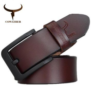 COWATHER for mens high quality genuine leather belts 2017