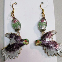 Parrot Earrings Cloisonne, Double Sided Puffed, Lavender, Lampwork Beads, Handcrafted