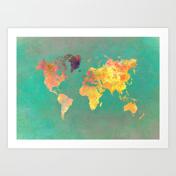 world map 103 #worldmap #map Art Print by jbjart