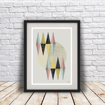 PRINT of Abstract art Triangles Poster Geometric art poster Minimal Modern Scandinavian Nordic Style Abstract poster print.