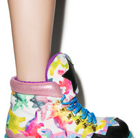 Irregular Choice Touching The Void Boots Pink