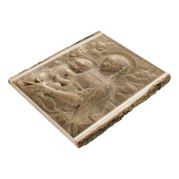 Mother Mary Jesus Christ Angels Marble Look Wood Panel