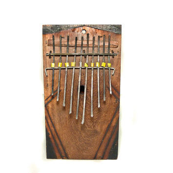 African thumb piano, mbira, music, instrument, musician gift, wood instrument, vintage, piano, travel size, portable, woodburn art