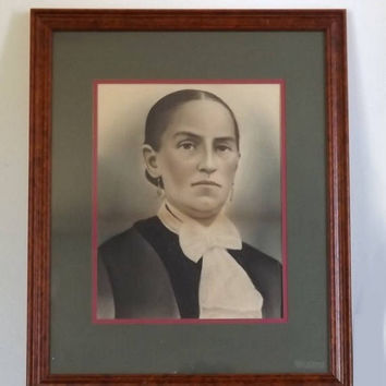 Charcoal Woman's Portrait, Antique Artwork in Modern Wood Frame, Vintage Drawing
