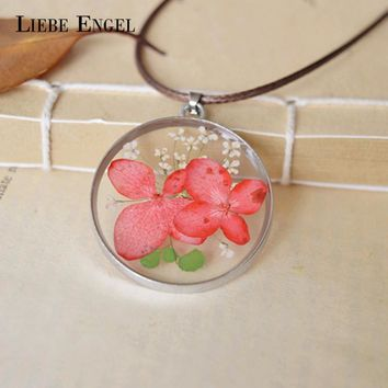 LIEBE ENGEL Handmade Natural Dried Pink Flower Necklace Pendant Vintage Silver Color Necklace Lovely Jewelry for Women HOT