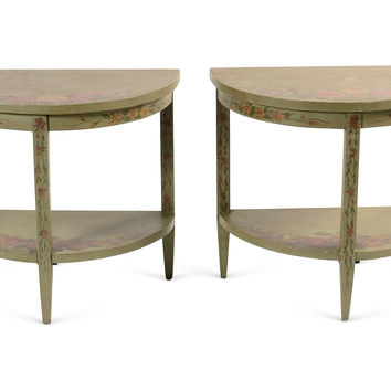 Green Painted Tables, Pair, Side Table, End Table