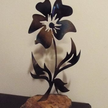 Decorative Flower mounted on Red Wood, with torched finish