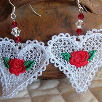 White Heart Dangle Earrings  - Lightweight Earrings - Red Rose Heart Earrings