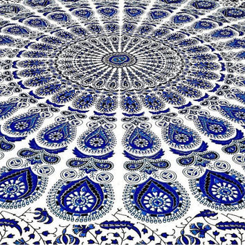BLUE AND WHITE Mandala Tapestry Peaceful Design