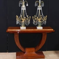 Canonbury - Pair Empire Ormolu Candelabras Lustres Glass Drops