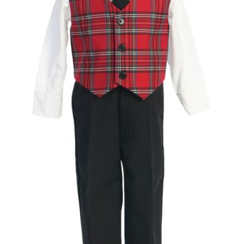 Boys Holiday Dresswear Set with Red Plaid Vest & Black Pants 6m-7