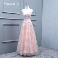 Robe De Soriee Peachy Pink Bridesmaid Dresses Long Lace White Appliques Embriodery Elegant Cheap Plus Size Prom Party Gown New