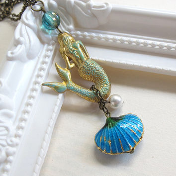 Classic Vintage Inspired Mermaid Necklace, Patina Charm, Blue Sea Shell Charm, Turquoise Blue Pearl. Whimsical Sea Ocean Fairytale Jewelry