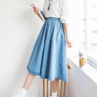 women denim pleated skirt 2016 new summer style vintage faldas crayon jupe etek saia feminina Korean jeans high waist clothing