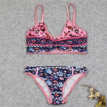 Two-Piece Separates 2018 Brasil Floral Print Bikini Set Swimwear Women Swimsuit Female Beach Bathing Suit Biquini Bra Underwear Two-piece Separate KO_18_1