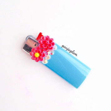 Lighter Mini Marijuana Pink Flower Bling Weed Custom Lighter Rhinestone Cute Girly