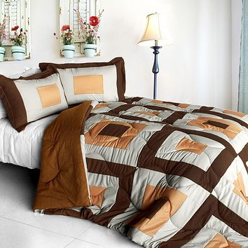[In My Life B] Quilted Patchwork Down Alternative Comforter Set (Full/Queen Size)