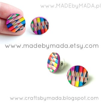 colored pencils Stud / Post Earrings Colorful by MADEbyMADA