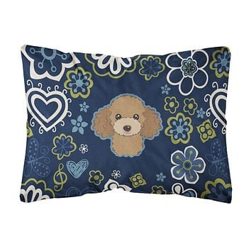 Blue Flowers Chocolate Brown Poodle Canvas Fabric Decorative Pillow BB5107PW1216