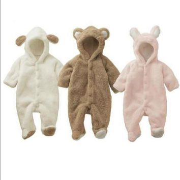 Baby Newborn Baby Clothes Bear Onesuit Baby Girl Boy Rompers Hooded Jumpsuit Winter Overalls For Kids Fleece Clothes
