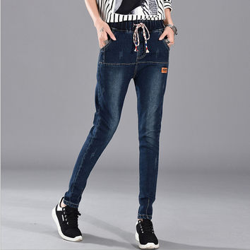 A1108 new Blue sexy Skinny Pure Elastic Waist cotton casual jeans in women's with high waist jeans for woman black