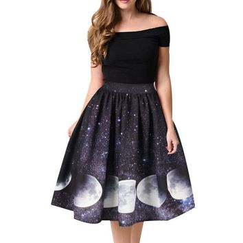 Moon Print High Waist Midi Knee Length Skirts