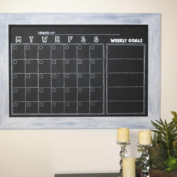 Large Wall Calendar - Weekly Goal Setting - Monthly Goal Planner -  Productivity Planner - Monthly Calendar - Magnetic Chalkboard Calendar