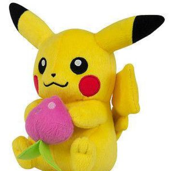"Tomy Pokemon Pikachu Holding Pecha Berry 8"" Easter Plush Authentic US Seller USA"