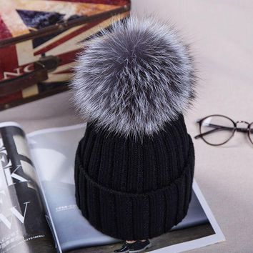DCCKWQA 2016 Knitted Hats for The Winter with 12CM Silver Fox Fur Ball Tops Women Acrylic Russian Cap Beanies Casual Women's Fur Hat