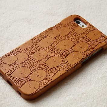 cute octopus iphone 6 wood case iPhone 6s case iphone 6 6 plus wood case iphone 5 5s 5c case wooden galaxy s6 s5 case note5 wood case cover
