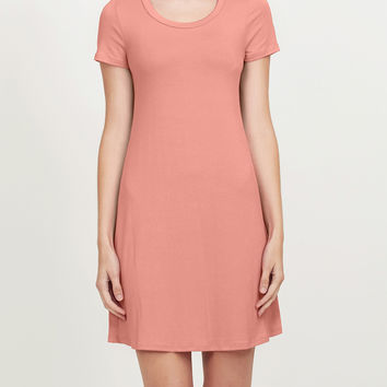 Lightweight Short Sleeve Flared Tunic Dress