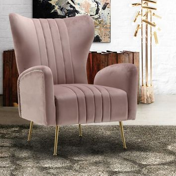 Spady Velvet Wingback Chair