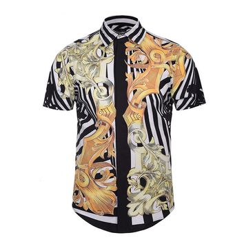 Crunchy Gold Short Sleeve Button Up Shirt