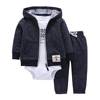 2017 bebes baby boy girls clothes set bodys bebes cotton hooded cardigan+trousers+body 3piece set newborn clothing