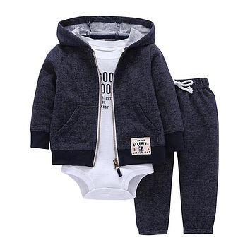 baby boy girls clothes set bodys bebes cotton hooded cardigan+trousers+body 3piece set newborn clothing
