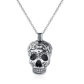 Sterling Silver fine Jewelry Chain pendant glowing bead chokers Goth Skull head necklaces