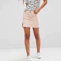 ASOS TALL Denim Low Rise Skirt in Washed Pink at asos.com