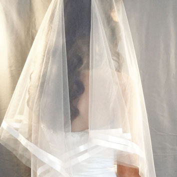 Modern Handkerchief Veil with Ribbon Accent