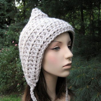 Woodland Pixie Hood Women's Hat Crochet Hat Elf by Monarchdancer