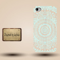 iphone case, i phone 4 4s 5 5s 5c case, iphone4 iphone4s iphone5 case, plastic rubber silicone cases cover, blue mandala geometric p1179
