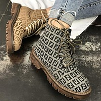 FENDI Trending Women Stylish High Top Lace-Up Shoes Martin Boots