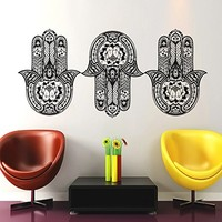 Hamsa Hand Wall Decal Vinyl Sticker Decals Lotus Flower Yoga Namaste Indian Ornament Moroccan Pattern Om Mandala Home Decor Bedroom Art Design Interior NS909