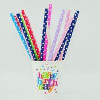 25pcs Lot Polka Dot Paper Straws Green Biodegradable Disposable Pipette Birthday Party Wedding Colored Dot For Party