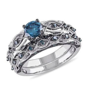 Round Cut Ink Blue Cubic Zirconia Silver Gold Color Ring Set