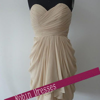New Custom-made  Bridesmaid Dress, Strapless Short Bridesmaid Dresses  Prom Dresses 2014