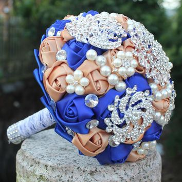 The Newest royal and Champagne artificial wedding bridesmaid bouquet  for wedding decoration