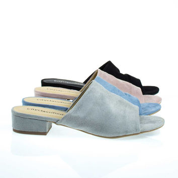 Kench Light Gray By City Classified, Low Chunky Block Heel Mule / Slipper Sandals,  Open Toe Slides