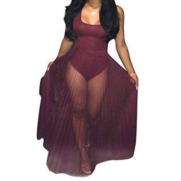 Women's Sleeveless See through Club Dress Sexy Romper Maxi Dress Bodysuits